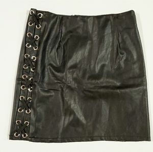 SEEK The Label LF Lace Up Sides Faux Leather Skirt
